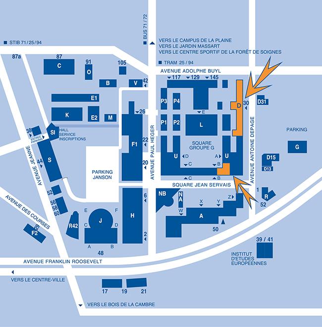 Plan de la Faculté (bâtiments D et U).